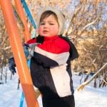 Boy on ladder — Stock Photo