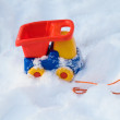 Toy truck in snow — Stock Photo