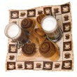 Stock Photo: Home-made cinnamon snail bakery with lat