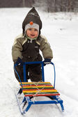 Baby pushing sled — Stock Photo
