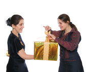 GIRL MAKE PRESENT TO ANOTHER ONE — Foto de Stock