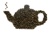 Teapot made of tea leaves — Stock Photo