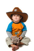 Happy boy in cowboy hat with rat — Stok fotoğraf