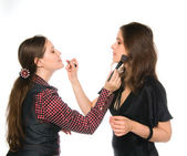 Make-up tutorial — Stock Photo
