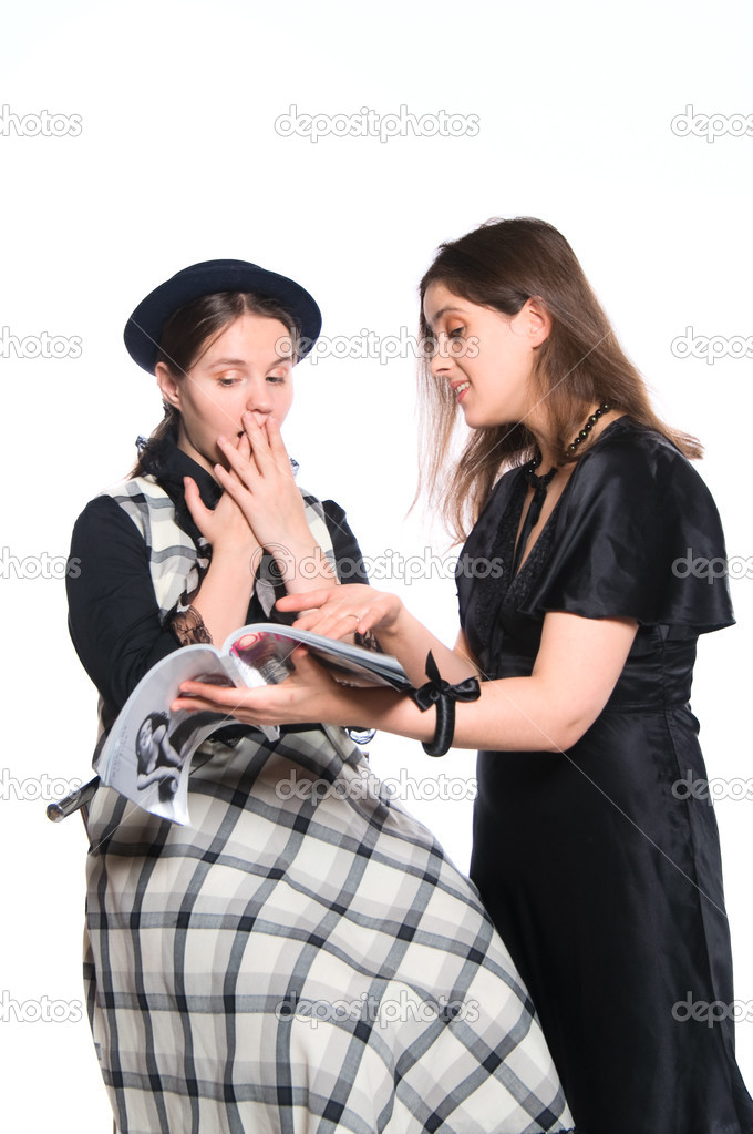 One woman giving advice to another how to dress (isolated on white) — Stock Photo #1132861