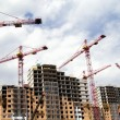 Building cranes and  building houses — Foto Stock