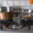 Stock Photo: Pand frying-pat gas-stove