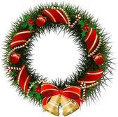 Christmas wreath with bells — Vector de stock
