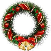 Corona de navidad con campanas — Vector de stock