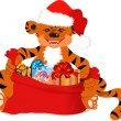 Vector de stock : Tiger with christmas gifts