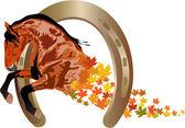 Herbst pferd — Stockvektor
