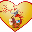 Love background with bird - Vektorgrafik