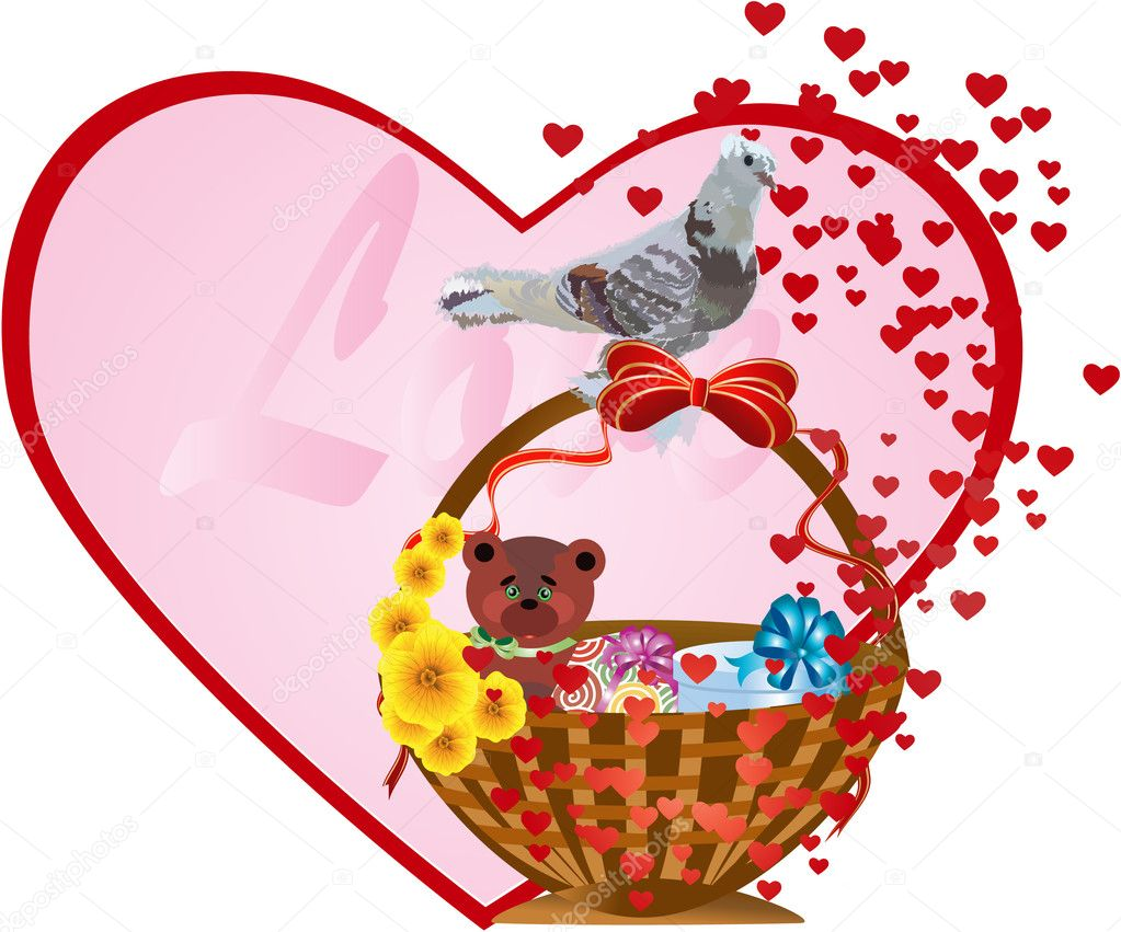 Love background with bird — Image vectorielle #1165161