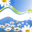 Greeting card with daisies - Stock vektor