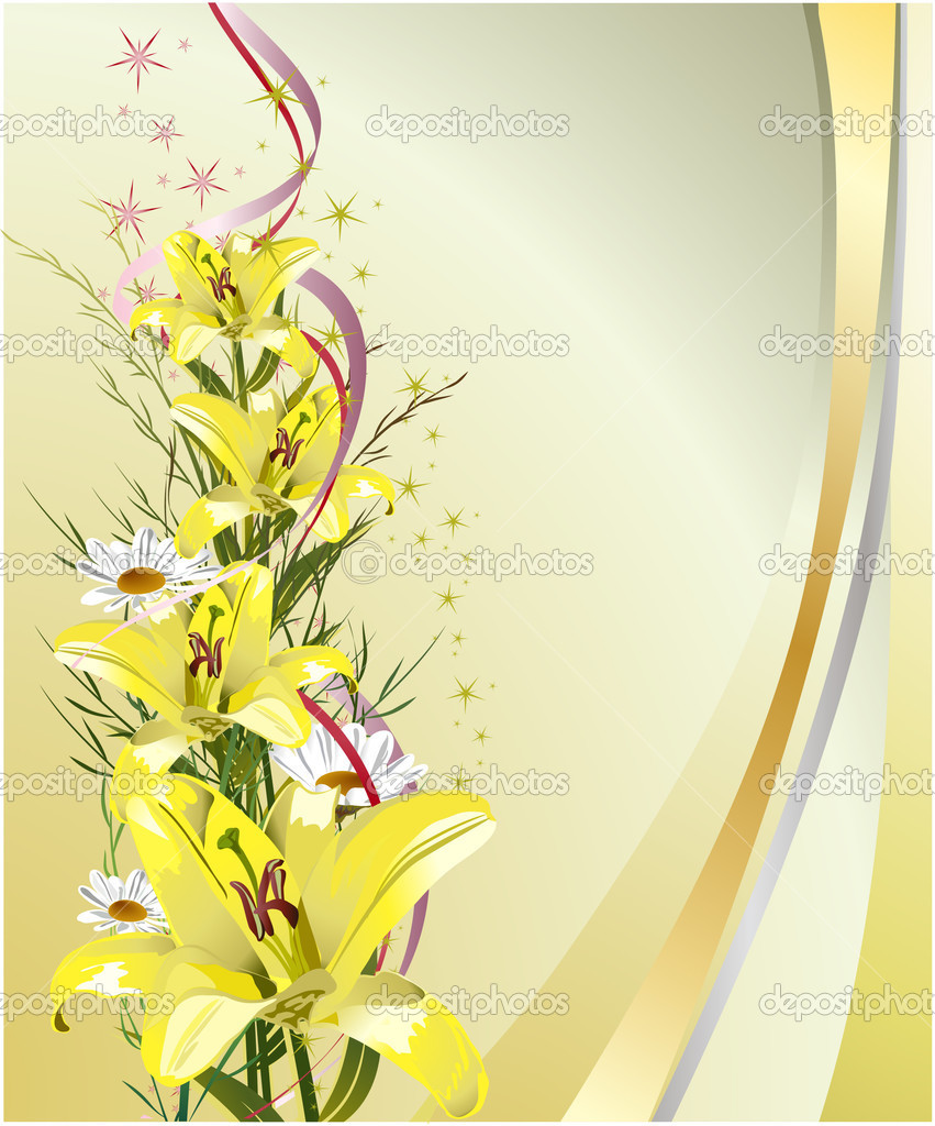 Greeting card with lilies — Stock Vector #1420033