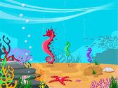 Vektor illustration av havsbotten — Stockvektor
