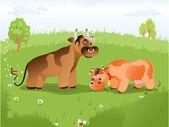 Illustrazione vettoriale di una mucca nel prato — Vettoriale Stock