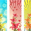 Stock Vector: Banners with bright flowers