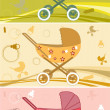 Stock Vector: Prams for baby