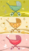 Prams for baby — Vector de stock