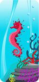 Ilustración vectorial de los fondos marinos — Vector de stock