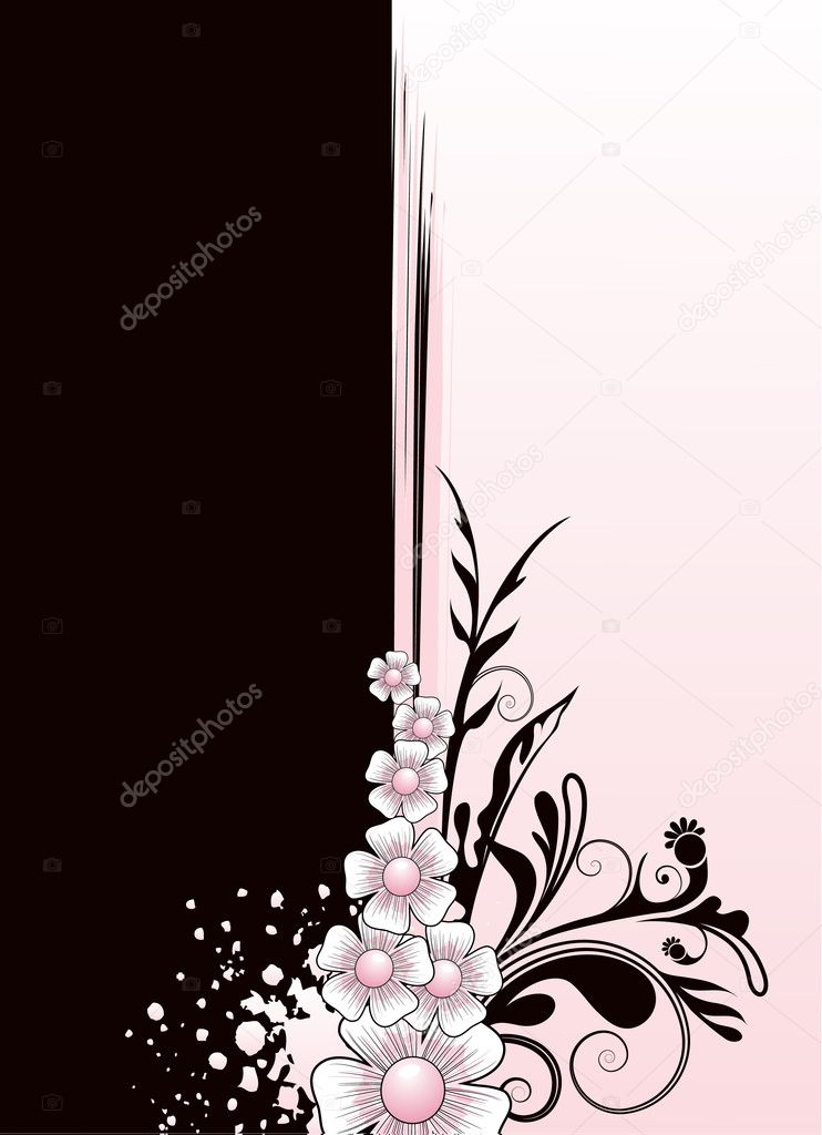 Vector illustration floral frame with leaves, ornaments and spots — Stock Vector #2577584