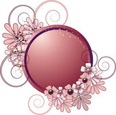 Round frame with flowers — Vector de stock