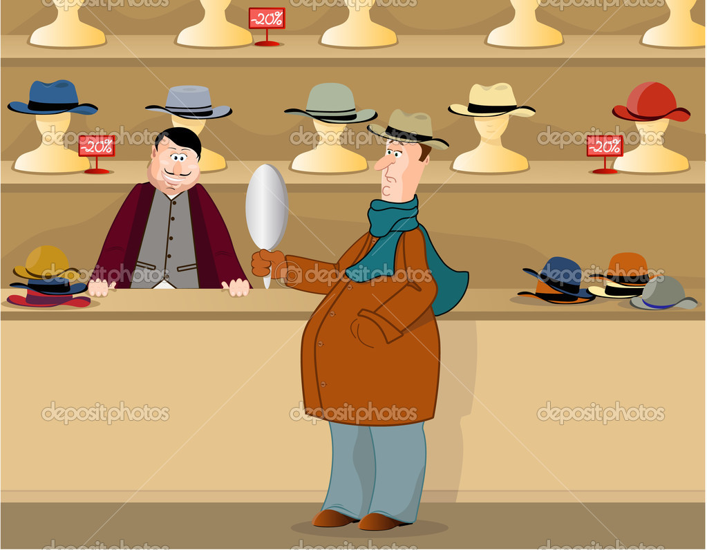 Man buys a hat in a store, vector  illustration — Stock Vector #2644472