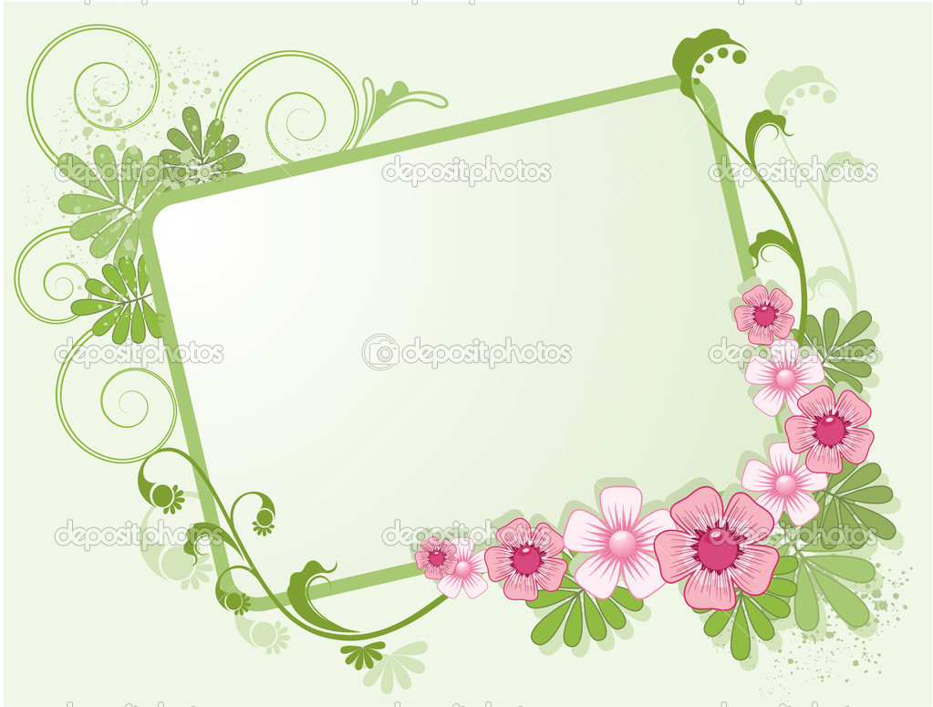 Floral frame for text, decorated with flowers leaves, shoots and spots  Stock Vector #2644672