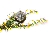 Christmas festive silver bauble — Stock Photo