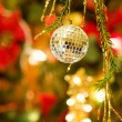 Christmas disco ball decoration — Stock Photo