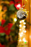 Christmas magic with silver bauble — Stock Photo