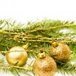 Christmas golden baubles — Stock Photo #1182179