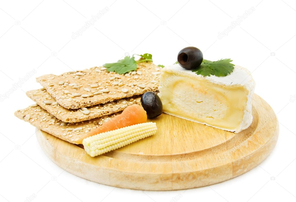 Healthy snacks with fresh Brie cheese, organic crackers and baby corn. Isolated on white background.  — Stock Photo #1182155