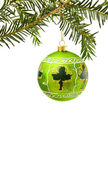 Irish Christmas with green bauble — Stock Photo