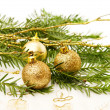 Stock Photo: Christmas golden baubles