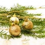 Золотое Рождество безделушки — Стоковое фото