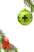 Christmas border with green bauble — Stock Photo