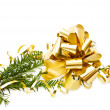 Christmas golden bow — Stock Photo