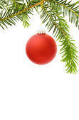 Christmas border with festive red bauble — Stock Photo