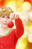 Merry Christmas! woman with red bauble — Stock Photo