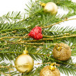 Christmas golden baubles — Stock fotografie