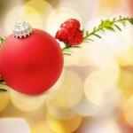 červené vánoční cetka a srdce — Stock fotografie