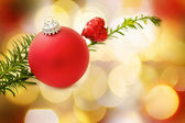 Christmas red bauble and heart — Stock Photo