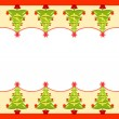 Stock Vector: Vector Christmas border with trees