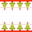 Vector Christmas border with trees — Stock Vector