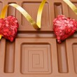 Valentines hearts and chocolate — Stock Photo