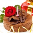 Stock Photo: Birthday cake with red rose and gift