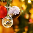 Christmas night with festive baubles — Stock Photo