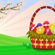 Easter basket with decorated eggs — Stock Vector
